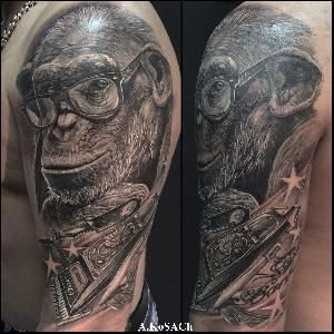 realistic tattoo monkey barbershop