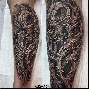 biomechanics tattoo blackandgreytattoo