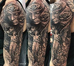 blackandgreytattoo angel realistic tattoo